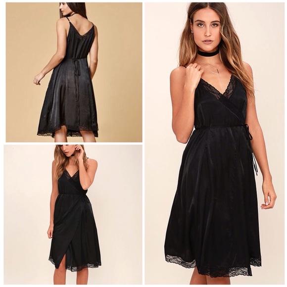5eae7ad1624c Lulu's Dresses | Somedays Lovin Canyon Lace Trim Wrap Slip Dress M ...